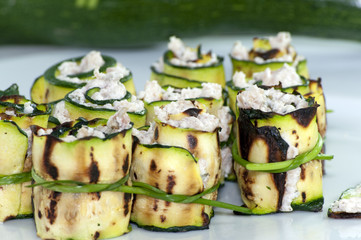 Rolled zucchini with cheese