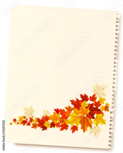 Autumn background with sheet of paper and colorful leaves. Back