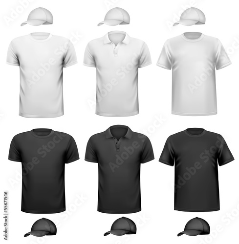 Black and white men shirt and cup. Design template. Vector illus