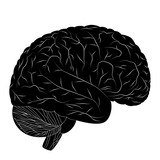 Black human brain isolated on white background. Vector EPS10.