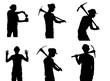 worker black silhouette in various poses