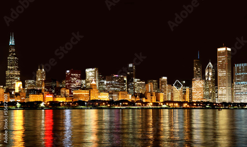 Poster Grote meren Chicago skyline at night