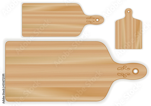 Wood cutting, carving boards, paddle shape, grain detail, 3 size