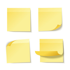 Yellow stick note isolated on white background, vector