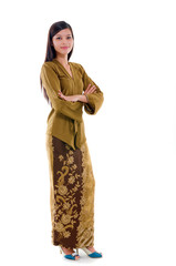 young muslim woman traditional kebaya on white background, full