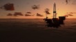 Oil rigs in ocean, timelapse sunset