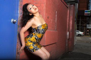 Sexy Asian woman posing in New York City street