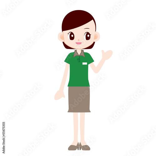 緑色ポロシャツの制服の女性