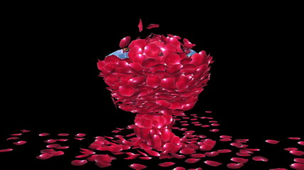 Diamond attracting rose petals, against black