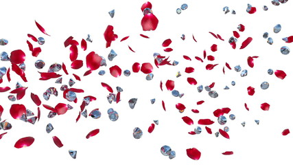 Diamonds and Rose Petals Flying, against white