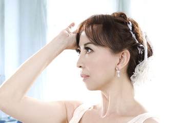 Portrait of beautiful bride with stylish make-up
