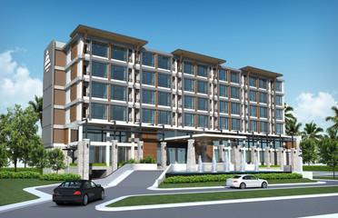 3D render of tropical hotel building
