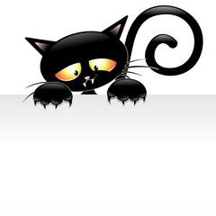 Black Cat Cartoon with Panel-Gatto nero con Pannello