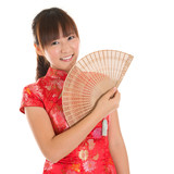 Chinese cheongsam girl with fan