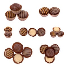 chocolate candy truffles assortment isolated on white background