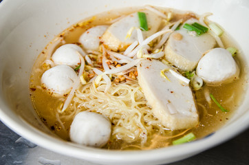 noodle tomyum soup with fishball