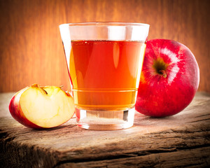 Apple juice. Fresh organic ripe apples and glass of juice