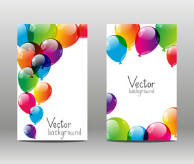 Holiday banners with color balloons