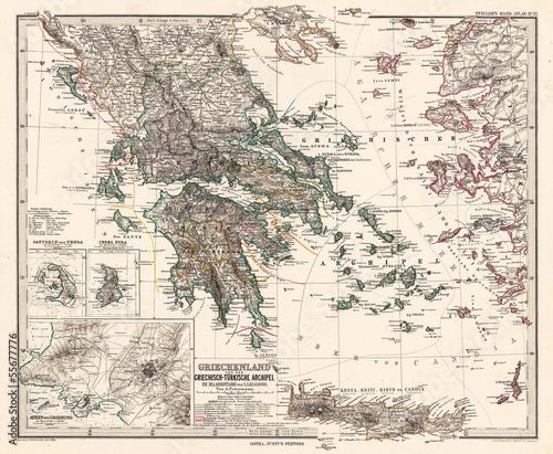 In de dag Retro Greece vintage map