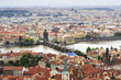 Vltava River and the Charles Bridge in Prague (View from the tow