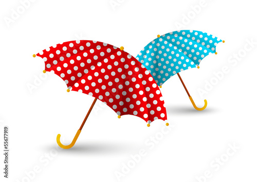 Two color umbrellas on white