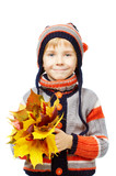 Happy child holding maple leaves
