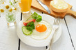 Healthy breakfast: fried egg and buns