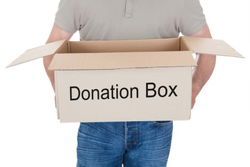 Man holding donation box