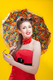 Pin-up girl in american style this umbrella