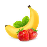 Strawberries and banana isolated on white