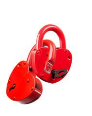 Padlock red heart-shaped. Isolation.