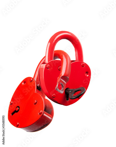 Padlock red heart-shaped. Isolation.