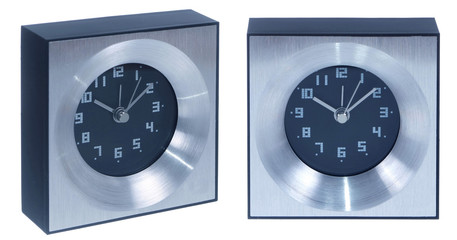 aluminium table clock isolated on white