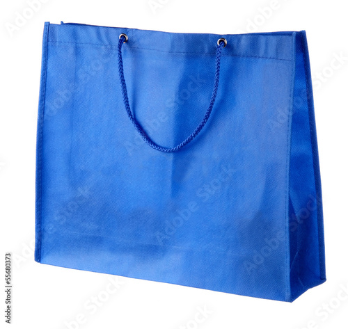 blue tissue shopping bag isolated on white