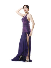 full-length attractive woman posing in evening dress