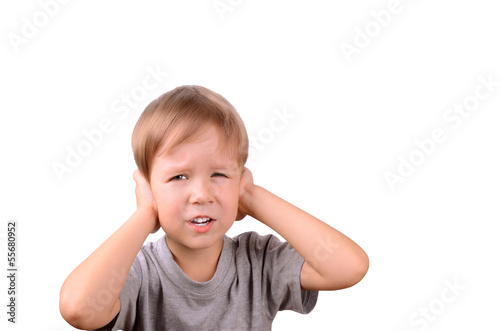boy 5 years shut by the hands ears