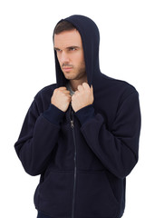 Man wearing hooded jacket
