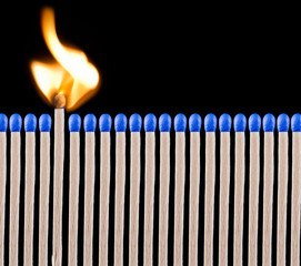 Blue safety matches
