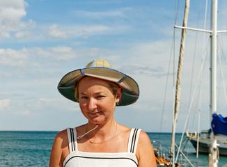 Woman at the sailboat.