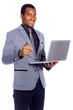 Portrait of a smiling business man holding a laptop - isolated o