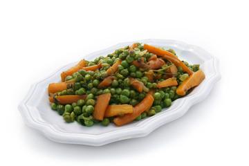 Plat de petits pois et carottes