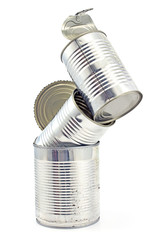 Tower of open empty tin can isolated on white