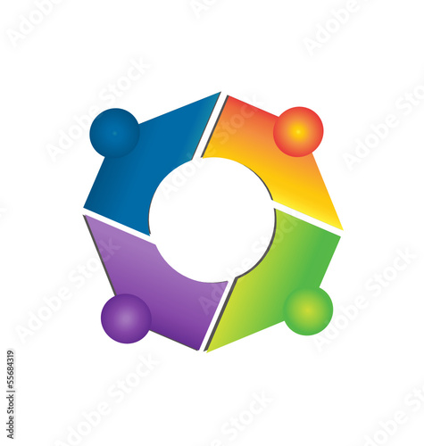 Teamwork network connections logo apps vector
