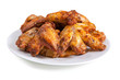 Plate of delicious barbecue chicken wings, on white - 55684946