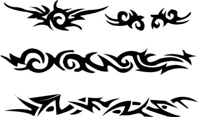 Set of tattoo style elements and grunge background.
