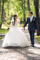 Newlyweds walk