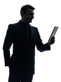 business man  digital tablet smiling  silhouette