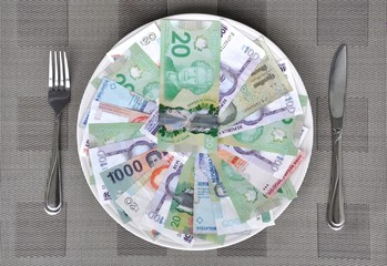 International currencies over big white plate