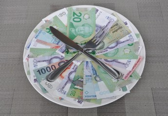 Fork and knife over international currencies in plate