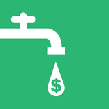 Money faucet silhouette with dollar sign droplet